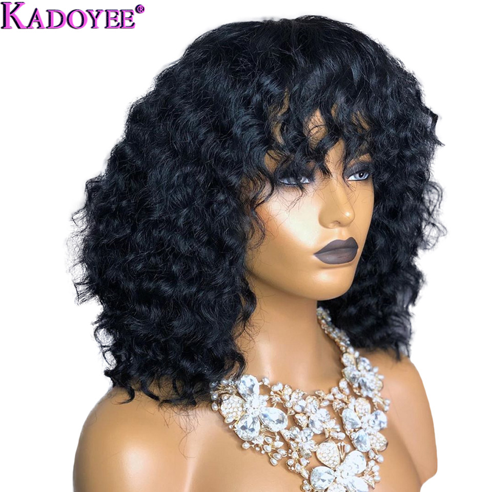 Deep Curly Wig With Bangs Lace Front Human Hair Wigs Brazilian Remy Hair 13x4 Ear To Ear Front Lace Wig Pre Plucked For Women