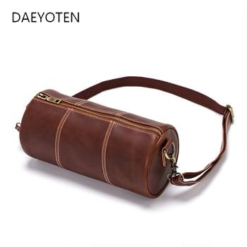 DAEYOTEN Fashion Messenger Bag Brand PU Leather Men Crossbody Bags Casual Bucket Travel Barrel Handbag ZM0853