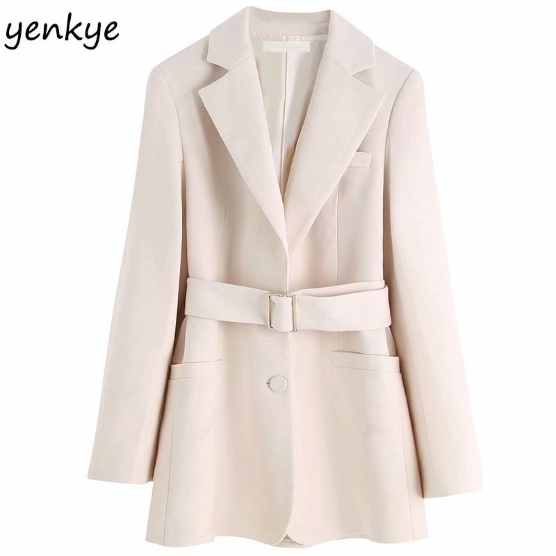 Elegant Women Autumn Solid Color  With Belt Blazer Mujer Long Sleeve Notched Collar Slim Suits  Work Wear Office Blazers