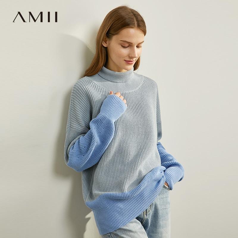 Amii Minimalist Patchwork Sweater Autumn Women Loose Turtleneck Elegant Female Knit Pullover Tops 11930306