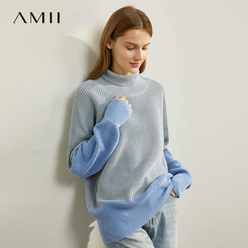 Amii Minimalista Patchwork Camisola Outono Mulheres Gola Solta Elegante Fêmea Pulôver De Malha Tops 11930306