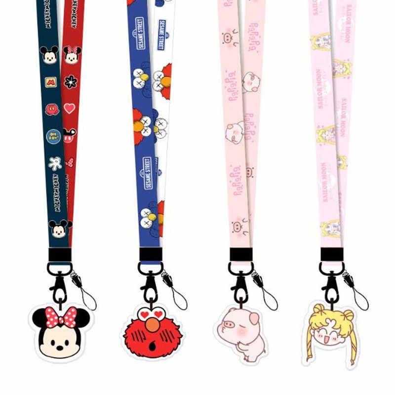 Hot Verkoop 1 Stuk Top Kwaliteit Leuke Cartoon Stitch Mickey Minnie Badge Houder Lanyard Mobiele Telefoon Strap Cartoon Pedant Sleutel band