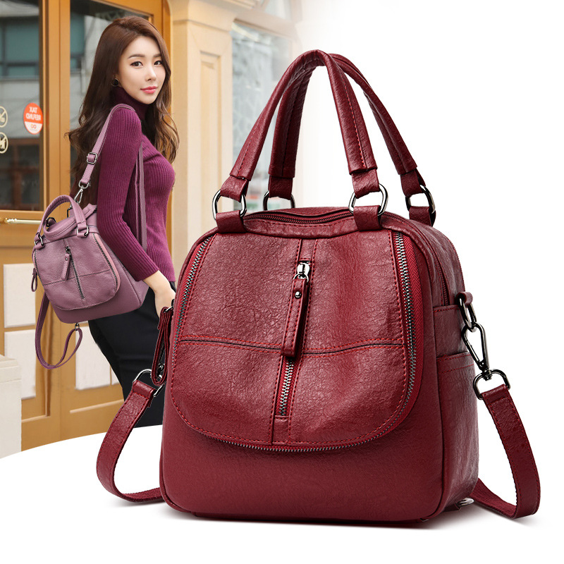 Women's Fashion Multipurpose Leather Shoulder Bag Zipper for Mobile Phone Keys Travel Bags 3 ways