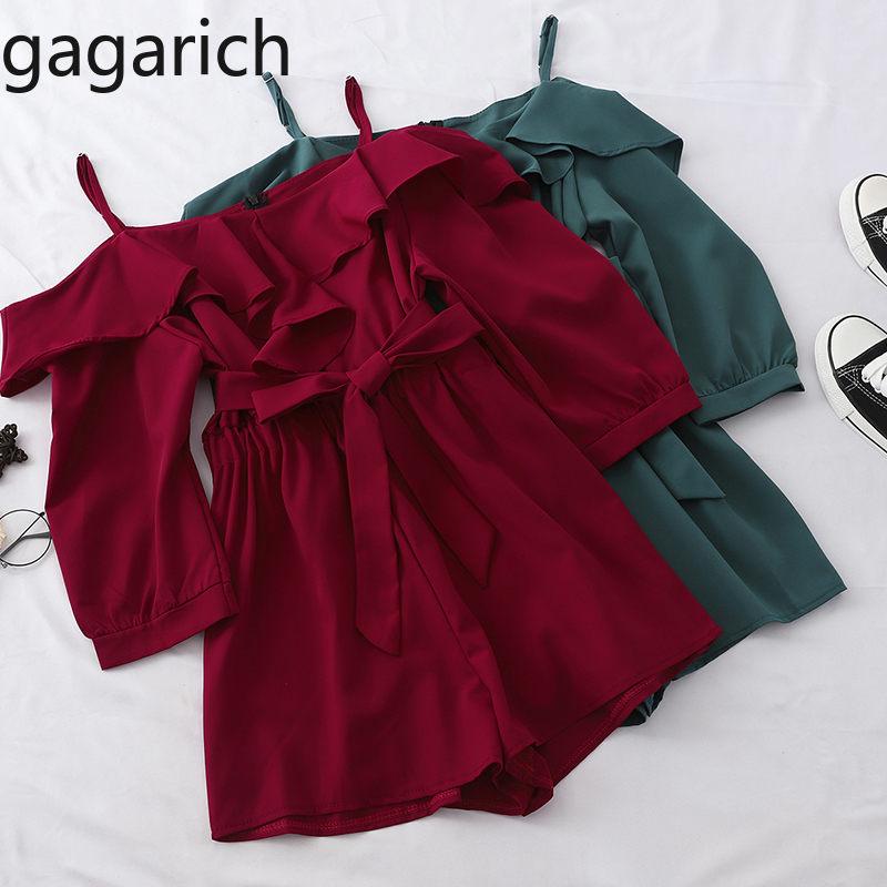 Gagarich Women Fashion Ruffles Jumpsuit Ladies Summer Sexy Slash Neck Slip Rompers Femme Loose Slim Bodysuit Wide Leg Shorts