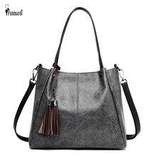 FUNMARDI Big Casual Tote Bag Female Soft PU Leather Shoulder Bag Fashion Tassel Design Crossbody Bags For Women Handbag WLHB2155 graceful pu leather and metal design tote bag for women