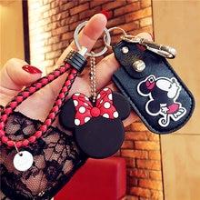 Disney Cartoon Mickey Minnie Keychain Caut Plush Toys Doll Key Chain for Girls Toy Bag Pendant Keyrings Sweet Jewelry Key Chain