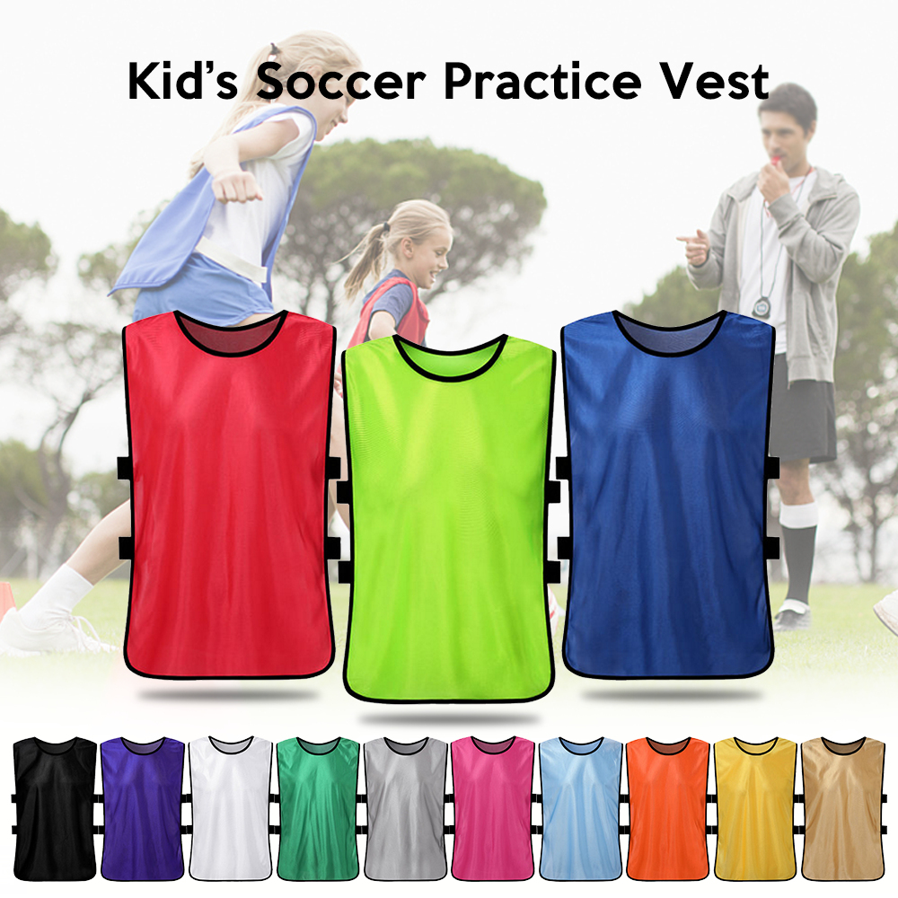 12 PCS Kid's Soccer Pinnies Quick Drying Football Jerseys Youth Sports Scrimmage Practice Sports Vest Team Training Bibs 2019