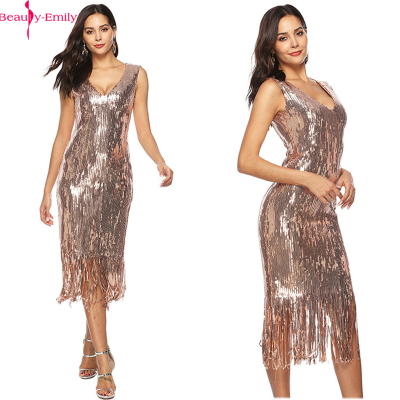 Beauty-Emily V Neck Evening Dresses Tassel Sleeveless Sequins Hip Dress Prom Cocktail Party Dress Sexy Vestido De Noche Fashion