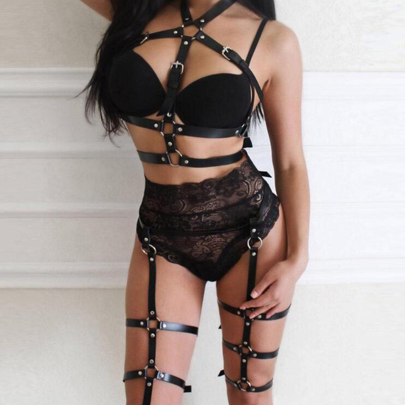 Women's Crop Top Stockings Bra Bondage Goth Harness Leg Bondage Adjustable Leather Belt Prom Dress Garter Belt