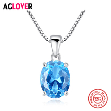 AGLOVER 925 Sterling Silver Blue Zircon Pendant Necklace With Box Chain Woman Statement Necklace Romantic Wedding Jewelry Gift