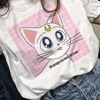 Marinière lune Anime t petit haut tee shirt 90s femmes tshirt femme style coréen ulzzang t-shirt graphique grunge esthétique