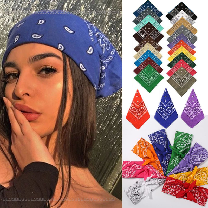 Vintage Bohemia Print Bandana Hair Bands for Girls Women Headband Scarf Face Mask Cross Turban Bandanas Headwear 55cmX55cm(China)