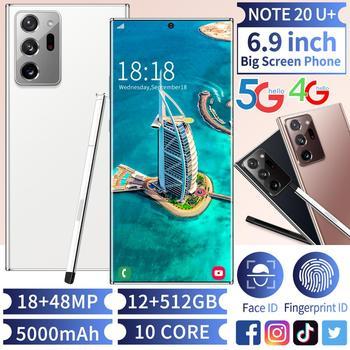 NOTE20U + Smartphone 6 9 #8222 telefony komórkowe Android odcisk palca odblokowanie twarzą podwójny aparat 5G 4G 3G inteligentne mobilne telefony komórkowe wersja globalna tanie i dobre opinie TIENKIM 5000 CN (pochodzenie) IP55 Przenośne 50km 50w NOTE20U+