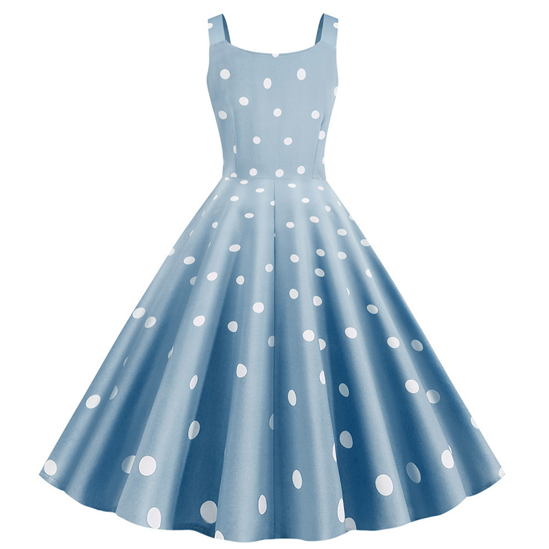 Women Summer Sexy Party Dress Casual Polka Dot Print Hepburn Vintage Robe Femme Plus Size Spaghetti Strap Midi Sundress 3