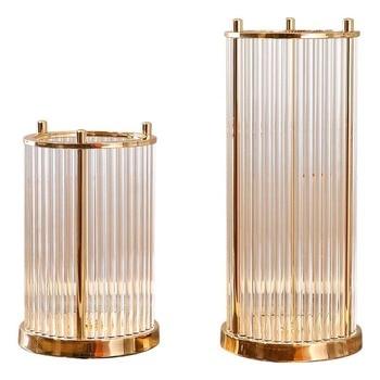 Candelabro de cristal de lujo de estilo europeo Metal dorado decoración de jarrón portavelas geométrico Flor de habitación regalo Bougeoir F559