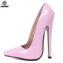 Jialuowei zapatos de tacón de aguja de 18cm para mujer, calzado de punta estrecha, stilettos, Sexy, para fiesta de boda, verano, Unisex
