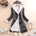 40 # женский зимний кашемировый вязаный свитер с капюшоном и флисовой подкладкой, пальто, женская Толстая теплая Длинная вязаная куртка с дли...