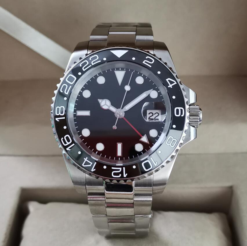 GEERVO No Logo 40mm Stainless Steel Automatic Machinery GMT Men's Watch Ceramic Border Sapphire Crystal Automatic Watch G127
