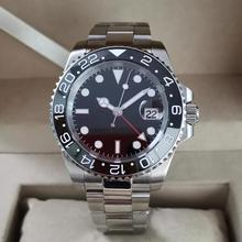 GEERVO No logo 40mm Stainless steel automatic machinery GMT Men's Watch