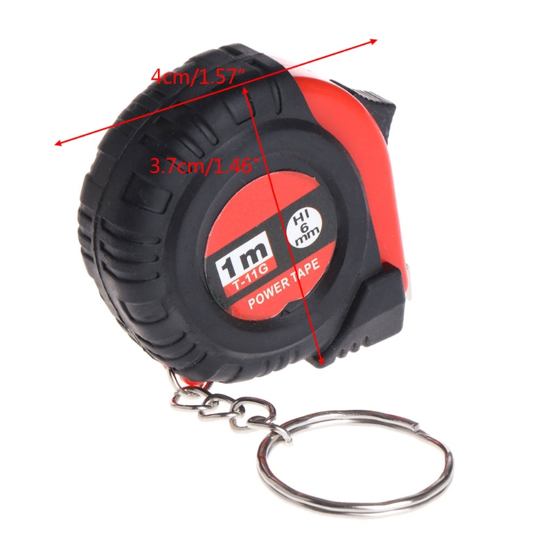 OOTDTY Mini Tape Measure With Key Chain Plastic Portable 1m Retractable Ruler cm/Inch A5YD