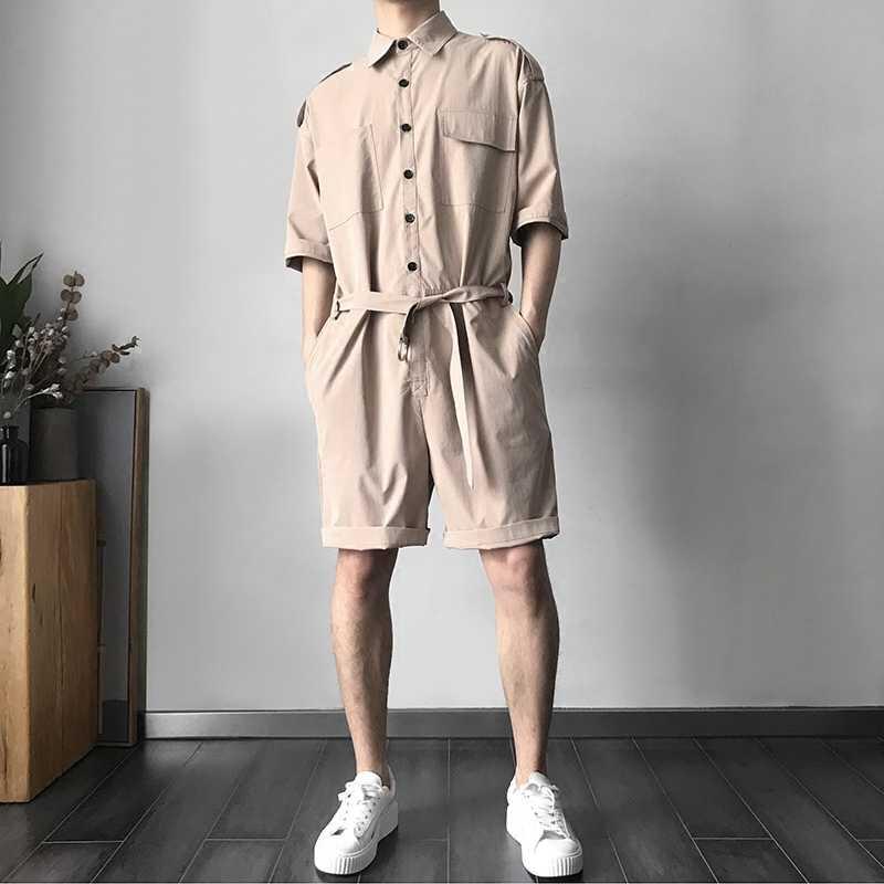 2020 yeni varış adam kısa kollu tulumlar Vintage tek göğüslü cep erkek Playsuits Casual gevşek Fit tulum adam için