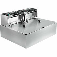 20L Electric Friteuse Deep Fryer Stainless Steel 5000W Double tank Fat Chip Friteuse with timer and exhaust tap