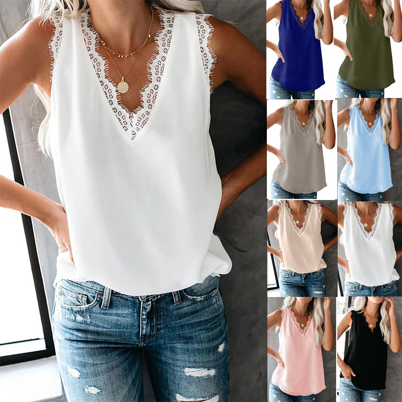 Sexy Vest V Neck Lace Patchwork Black White Shirt 2020 New Women Blouses Sleeveless Casual Loose Summer Beach Tops Plus Size 3XL