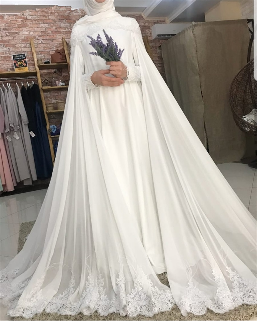 NUOXIFANG Romantic Long Sleeve Muslim Wedding Dresses Robe De Mariage Custom Made Dresses Bridal 2020 Vestidos De Noiva