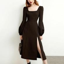 Black Retro Split Dress Women Elegant Midi Designer Dress Female Long Sleeve Hepburn Style Chiffon Vintage Dress Fall 2020 Women