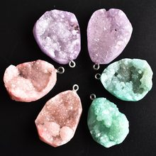 Pendentifs en pierre d'agates Druzy naturelles, breloques de forme irrégulière, bricolage pour la fabrication de collier ou de bijoux, 6 pièces/lot, vente en gros