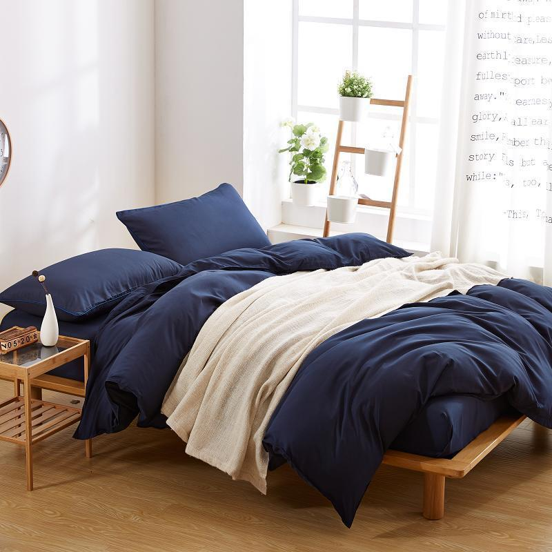Plain Navy Blue Color Linen Bedding Sets
