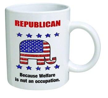 Republicano, porque el bienestar no es una ocupación-tazas de café de 11 onzas-Regalos inspiradores y sarcasmo