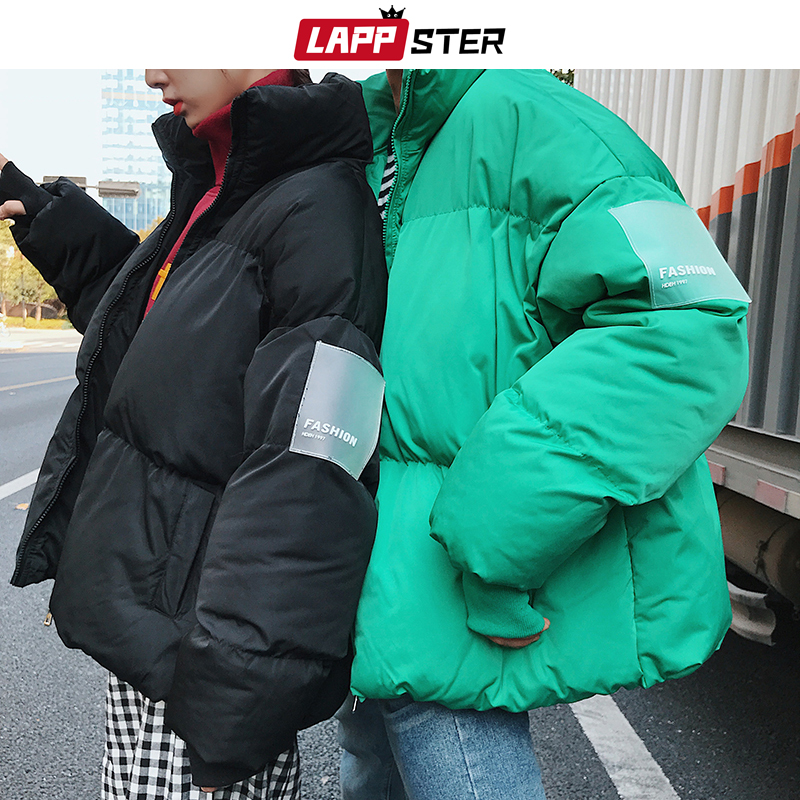 LAPPSTER Men Black Streetwear Bubble Coat 2020 Winter Jacket Mens Korean Puffer Jackets Coats Male Harajuku Thick Hip Hop Parka