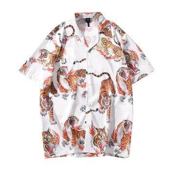 tiger print shirt Mens fashion Summer hawaiian Shirts short sleeve Casual shirts Beach Tops Loose Shirts plus size рубашка мужск 1