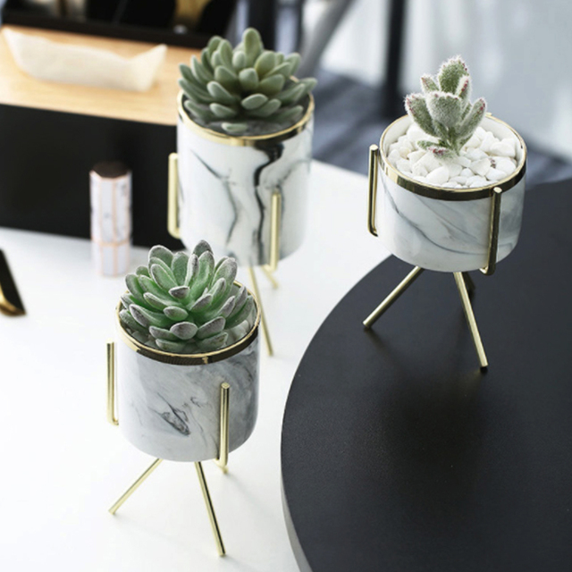 Nordic Ins Minimalist Vase Fleshy Flowerpot Marble Pattern Ceramic Wrought Iron Vase Flower Pot Home Mariage Living Room Decor 3