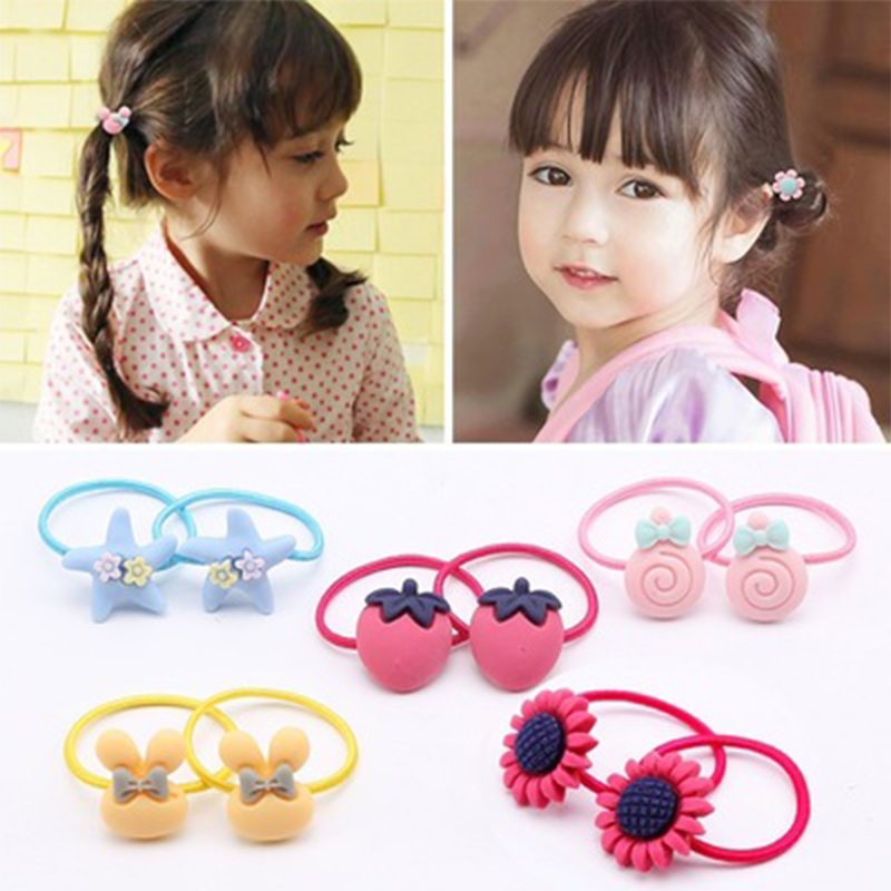 6 Pcs/lot Mix Macarons Hair Bands For Baby Girls Cartoon Mickey Fruit Elastic Hair Rope Flower Childern Kids Hair Accessories