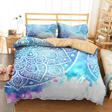 3D Bedding Clothes Home Textiles Light Blue Mandala Printed Duvet Cover with Pillowcases for Adult Queen Single Size bedding clothes home textiles dream dark purple mandala printed duvet cover with pillowcases for adult queen double size