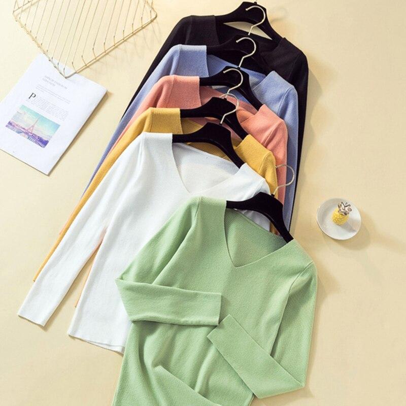 Gkfnmt Sweater Pullover V-Neck Long-Sleeve Basic Pink White Autumn Winter Women Slim