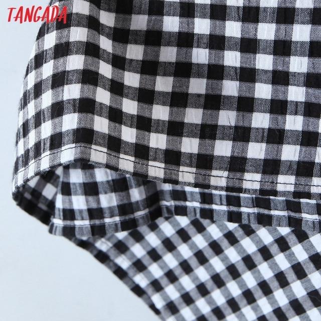 Tangada 2021 Fashion Women Plaid Print Tassel Dress Sleeveless Female Casual Midi Dress 8H72 5