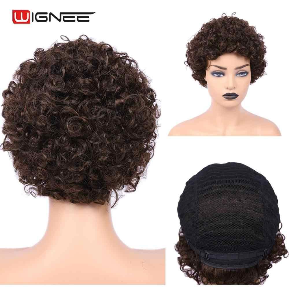 Wignee Afro rizado pelucas de cabello humano corto para Mujeres Negras/blancas 150% densidad Remy India cabello sin pegamento Jerry Curl pelucas humanas