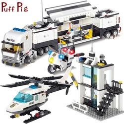 Police Station Trucks Helicopter Building Blocks Set Kids Toys City Figures DIY Construction Bricks Toys for Children