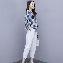 Middle-Aged Women Blouse Clothing 2020 Summer New Fashion Short-Sleeve Suit Printed Tops