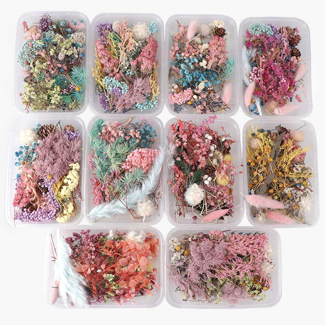 1 Box Random Mix Style Dried Flowers Decoration Natural Floral Sticker Dry Beauty Nail Art Decals Epoxy Mold DIY Filling Jewelry 1