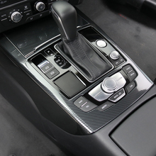 Car Console Gear Shift Panel Frame Cover Trim Strips For Audi A6 C7 2012 2018 Interior Accessories Carbon Fiber Color Styling