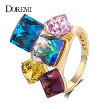 DOREMI 3A Zircon Girls Bling Jewelry Finger Ring Accessories Fashion Colorized Square Shape Rings  for Women цены онлайн