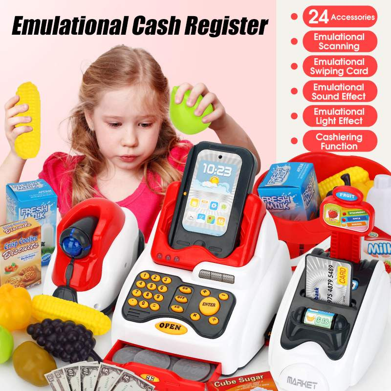25PCS Supermarket Cash Register Electronic Toys Checkout Scanner Money Bank Card Children Learning Education Pretend Play Toy