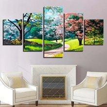 Цветок Дерево весенний пейзаж 5 шт холст картины модульный современный