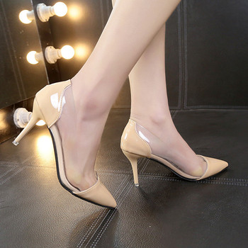 Latest Fashion Women THIN High Heels Luxury Brand Exclusive Leather and PVC Pointed Toe Pumps Dress Shoes 8CM size 35-39