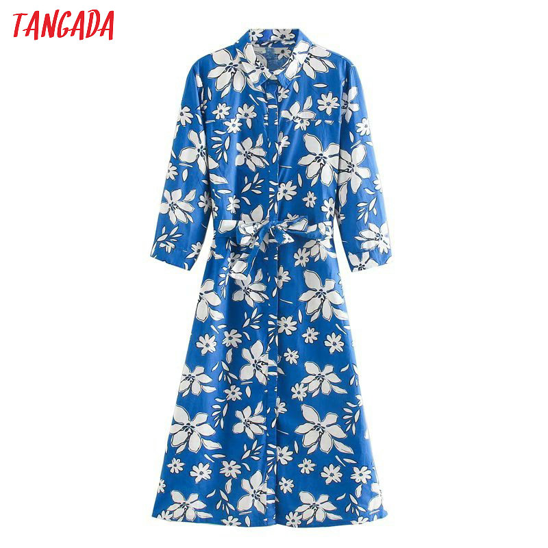 Tangada Women Blue Flowers Print Shirt Dress 2020 Fashion Long Sleeve Office Ladies Slash Midi Dress Vestidos  5Z132