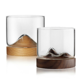 Creative Whisky Glass With Woodiness Holder Japanese Style Rum Liquor Beer Wineglass Personality Mountain Design Tasting  Vaso 1